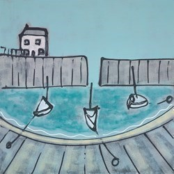 Three Little Boats by Charlotte Turner -  sized 24x24 inches. Available from Whitewall Galleries